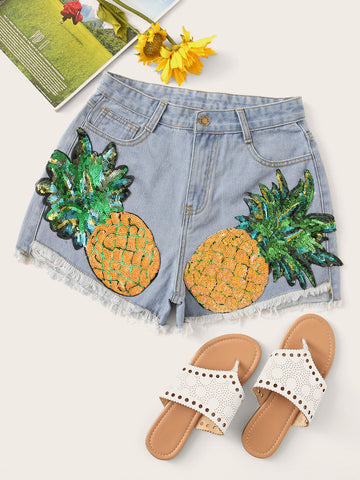Contrast Pineapple Sequin Raw Hem Denim Shorts
