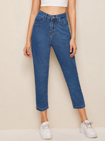 Stitch Detail Mom Jeans