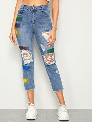 Colourful Brush Print Ripped Raw Hem Jeans