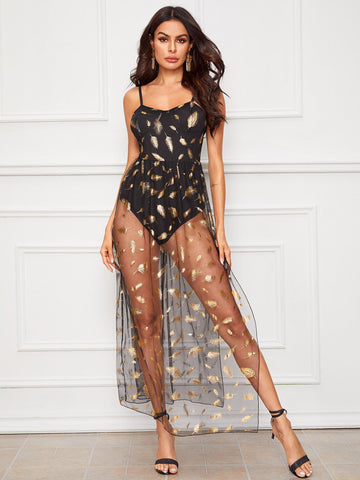 Feather Print Contrast Mesh Cami Bodysuit