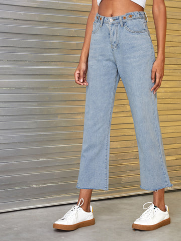 Button Waist Straight Leg Solid Jeans