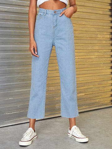 Solid Button Waist Cropped Jeans