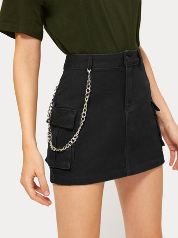 Button Waist Chain Detail Denim Skirt