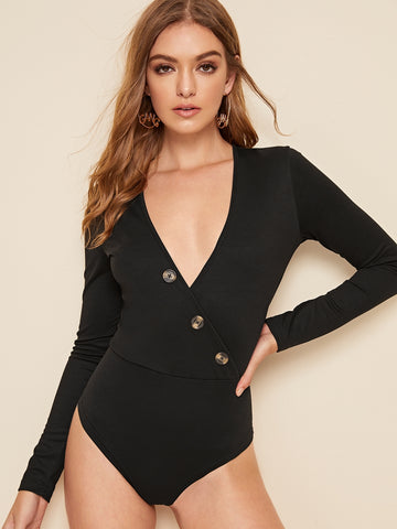 Wrap Front Button Skinny Bodysuit