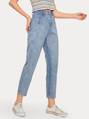 Button Waist Washed Mom Jeans