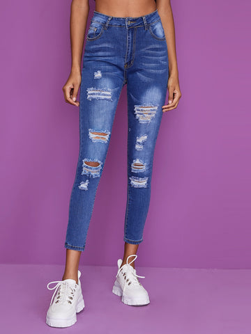 Ripped Pocket Detail Slim Jeans