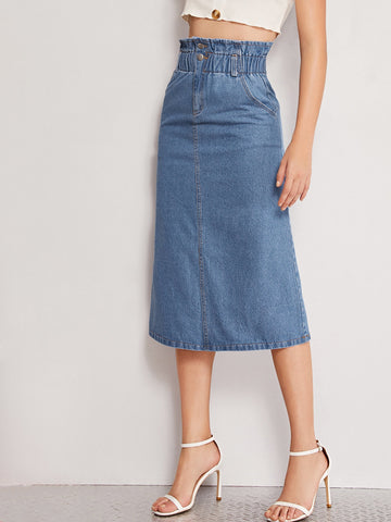 Button Front Elastic Waist Denim Skirt