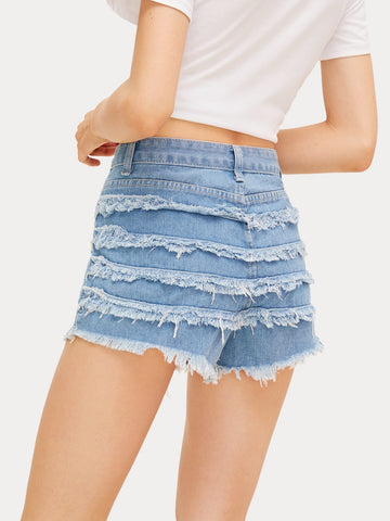 Button Waist Raw Hem Denim Shorts