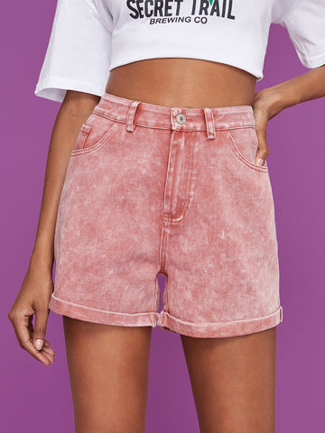 Rolled Hem Flakes Denim Shorts