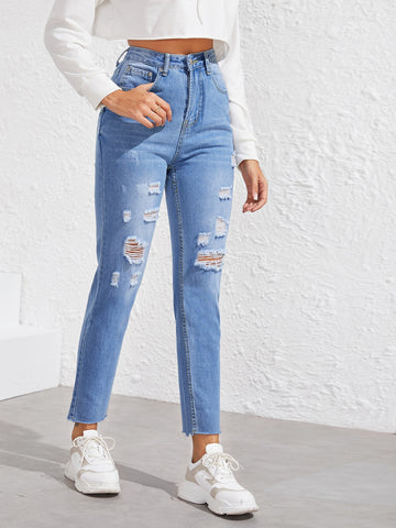 Button Up Raw Hem Ripped Mom Jeans