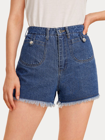 Button Fly Raw Hem Denim Shorts