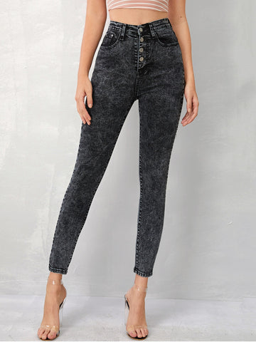 Grey Wash Button Fly Skinny Jeans