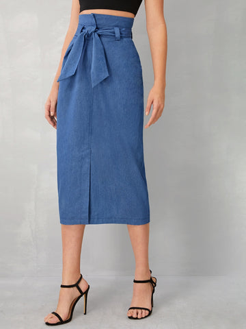 Split Front Belted Denim Skirt