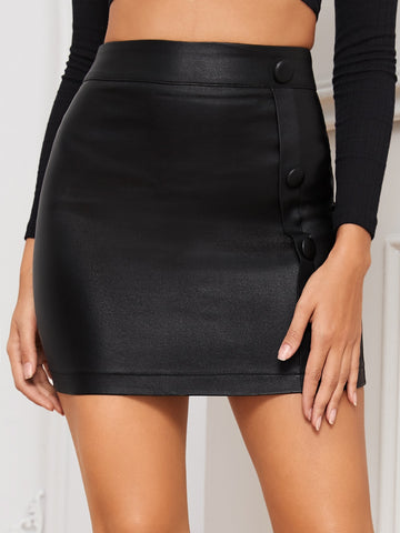 Coated Button Detail Bodycon Denim Skirt