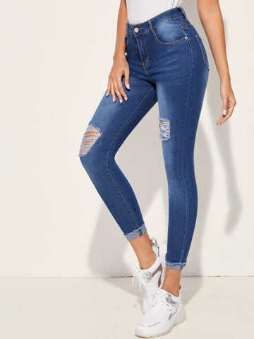Distressed Cuffed Hem Skinny Jeans