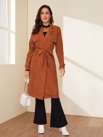 Lapel Neck Suede Belted Suede Trench Coat