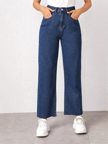 Bleach Wash Wide Leg Jeans