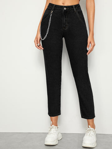 Chain Detail Tapered Jeans