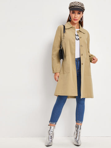 Dual Pockets Single Breasted Trench Coat