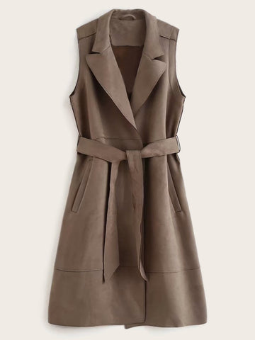 Suede Lapel Neck Belted Sleeveless Trench Coat