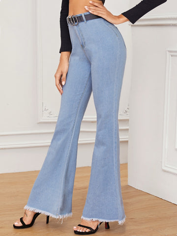 Button Waist Raw Hem Flare Leg Jeans Without Belted