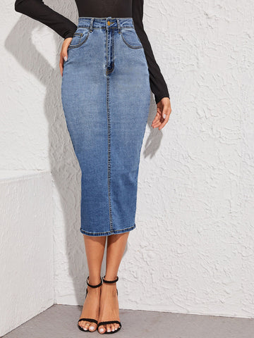 Split Back Bodycon Denim Skirt