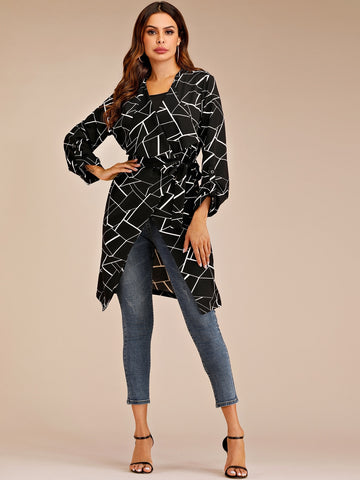 Geometric Print Roll Up Sleeve Belted Coat