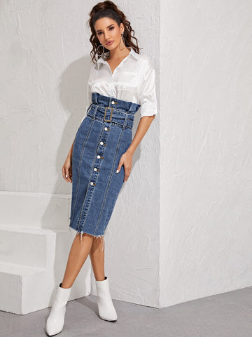 Paperbag Waist Raw Hem Belted Pencil Denim Skirt