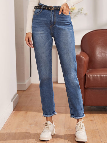 Raw Hem Straight Leg Jeans Without Belt