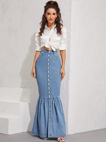 Button Front Fishtail Hem Denim Skirt