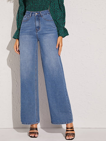 Wash Wide Leg Jeans Without Belt