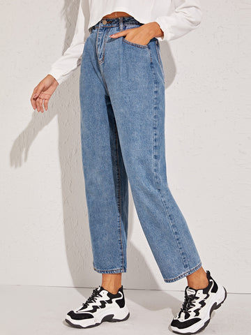 Washed Button Fly Straight Jeans