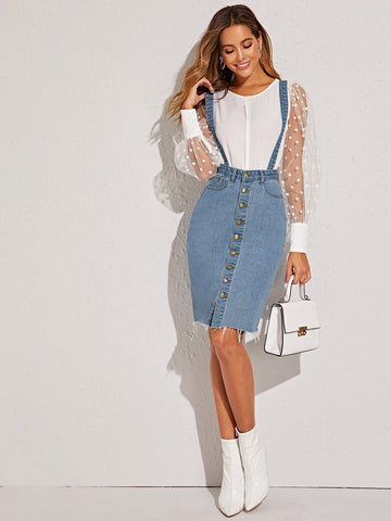 Button Front Raw Hem Pinafore Denim Skirt