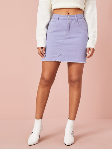 Purple Wash Raw Hem Denim Skirt