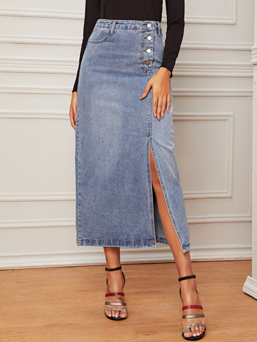 Button Front Split Straight Denim Skirt
