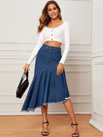 Raw Hem Asymmetrical Denim Skirt