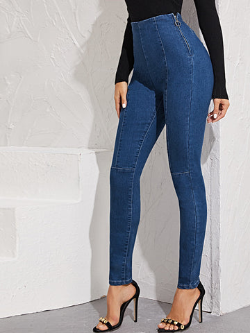 High Waist O-ring Zip Fly Skinny Jeggings