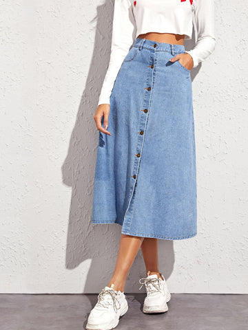 Button Through A-line Denim Skirt