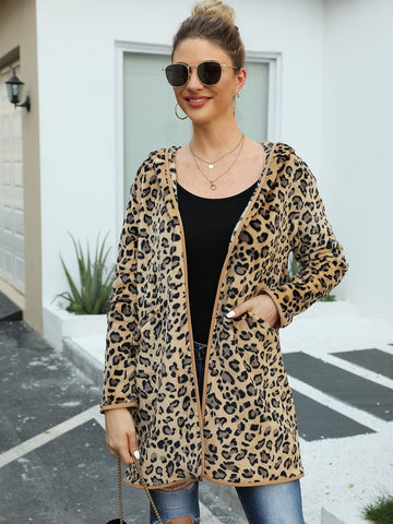 Leopard Print Dual Pockets Hooded Teddy Coat
