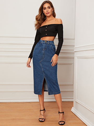 Button Fly Split Front Denim Skirt
