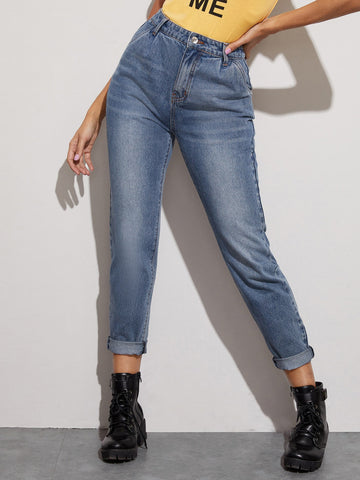 Bleach Wash Boyfriend Jeans