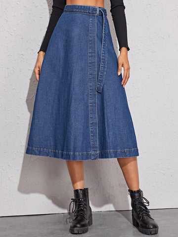 Solid Self Tie A-Line Denim Skirt