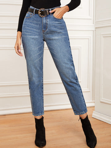 Solid High Rise Mom Jeans