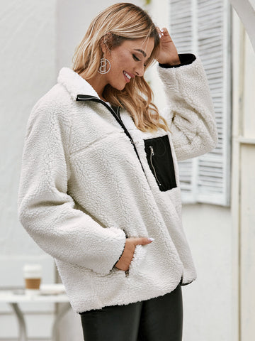 Zip Up Raglan Sleeve Teddy Coat