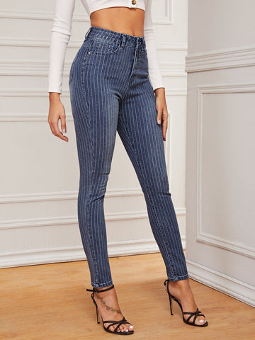 Bleached Wash Striped Skinny Jeans