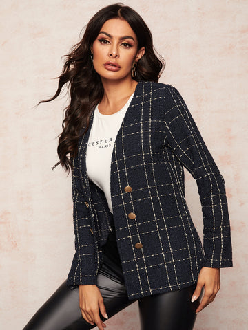 Plaid Double Button Tweed Coat