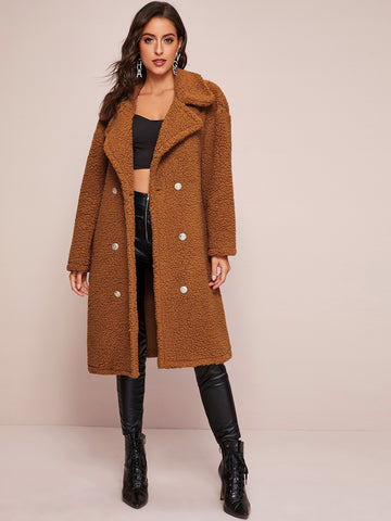 Double Button Teddy Coat