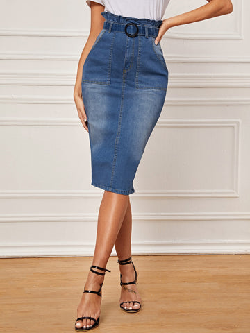Paperbag Waist Buckle Belted Denim Pencil Skirt