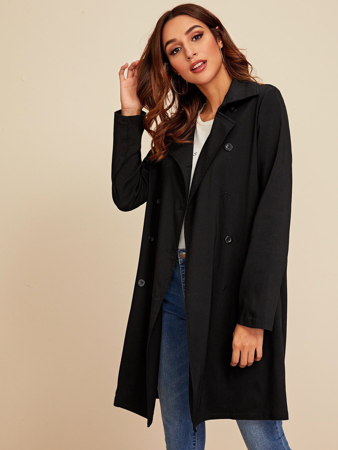 Double Breasted Pocket Side Belted Trench Coat