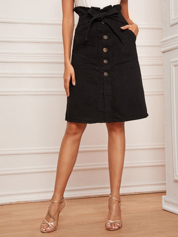 Button Front Paperbag Waist Belted Denim Skirt